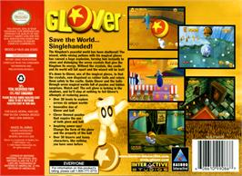 Box back cover for Glover on the Nintendo N64.