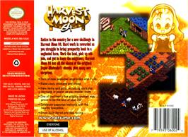 Box back cover for Harvest Moon 64 on the Nintendo N64.