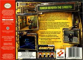 Box back cover for Hybrid Heaven on the Nintendo N64.