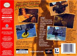Box back cover for Indiana Jones and the Infernal Machine on the Nintendo N64.