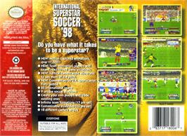 Box back cover for International Superstar Soccer '98 on the Nintendo N64.