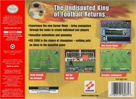 Box back cover for International Superstar Soccer 2000 on the Nintendo N64.