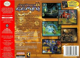 Box back cover for Jet Force Gemini on the Nintendo N64.