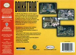 Box back cover for John Romero's Daikatana on the Nintendo N64.