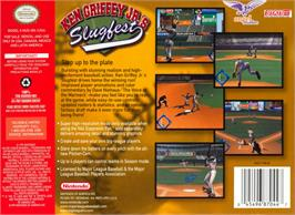 Box back cover for Ken Griffey Jr.'s Slugfest on the Nintendo N64.