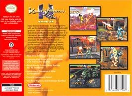 Box back cover for Killer Instinct Gold on the Nintendo N64.