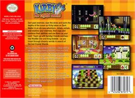 Box back cover for Kirby 64: The Crystal Shards on the Nintendo N64.