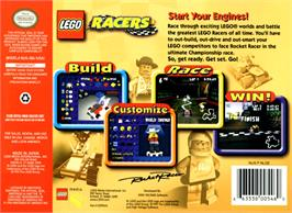 Box back cover for LEGO Racers on the Nintendo N64.