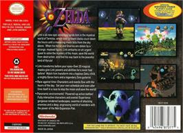 Box back cover for Legend of Zelda: Majora's Mask on the Nintendo N64.