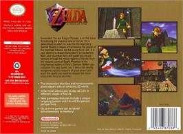Box back cover for Legend of Zelda: Ocarina of Time on the Nintendo N64.