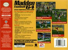 Box back cover for Madden Football 64 on the Nintendo N64.