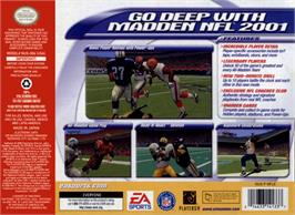 Box back cover for Madden NFL 2001 on the Nintendo N64.
