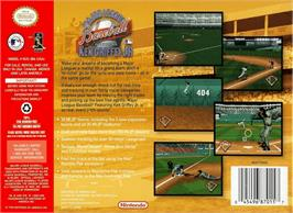 Box back cover for Major League Baseball Featuring Ken Griffey Jr on the Nintendo N64.