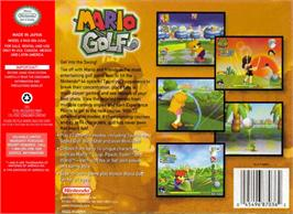 Box back cover for Mario Golf on the Nintendo N64.