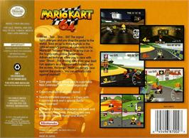 Box back cover for Mario Kart 64 on the Nintendo N64.