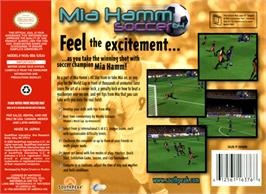 Box back cover for Mia Hamm Soccer 64 on the Nintendo N64.