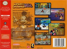 Box back cover for Mickey's Speedway USA on the Nintendo N64.