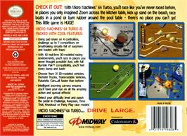 Box back cover for Micro Machines 64 Turbo on the Nintendo N64.
