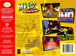 Box back cover for Milo's Astro Lanes on the Nintendo N64.