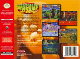 Box back cover for Mischief Makers on the Nintendo N64.