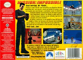Box back cover for Mission Impossible on the Nintendo N64.