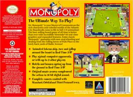 Box back cover for Monopoly on the Nintendo N64.