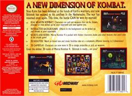 Box back cover for Mortal Kombat 4 on the Nintendo N64.