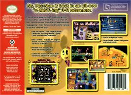 Box back cover for Ms. Pac-Man Maze Madness on the Nintendo N64.