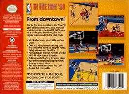 Box back cover for NBA: In the Zone '98 on the Nintendo N64.