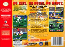 Box back cover for NFL Blitz on the Nintendo N64.