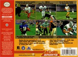 Box back cover for NFL Quarterback Club 2000 on the Nintendo N64.