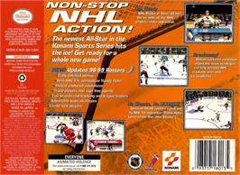 Box back cover for NHL Blades of Steel '99 on the Nintendo N64.