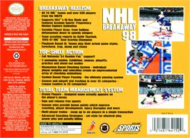 Box back cover for NHL Breakaway 98 on the Nintendo N64.