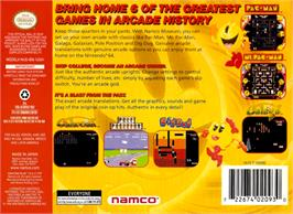 Box back cover for Namco Museum 64 on the Nintendo N64.
