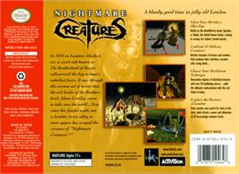 Box back cover for Nightmare Creatures on the Nintendo N64.
