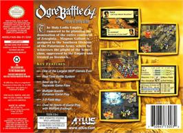 Box back cover for Ogre Battle 64: Person of Lordly Caliber on the Nintendo N64.
