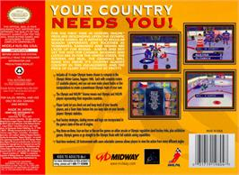 Box back cover for Olympic Hockey Nagano '98 on the Nintendo N64.