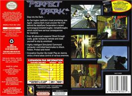 Box back cover for Perfect Dark on the Nintendo N64.
