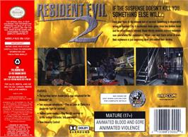 Box back cover for Resident Evil 2 on the Nintendo N64.