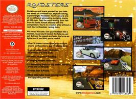 Box back cover for Roadsters: Trophy on the Nintendo N64.