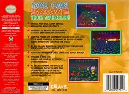 Box back cover for Robotron 64 on the Nintendo N64.