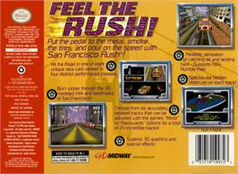Box back cover for San Francisco Rush: Extreme Racing on the Nintendo N64.