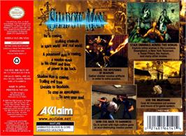 Box back cover for Shadow Man on the Nintendo N64.