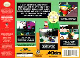 Box back cover for South Park on the Nintendo N64.