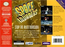 Box back cover for Space Invaders on the Nintendo N64.