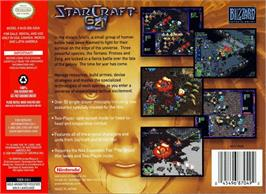 Box back cover for StarCraft 64 on the Nintendo N64.