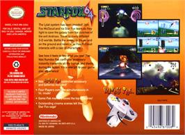 Box back cover for Star Fox 64 on the Nintendo N64.