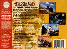 Box back cover for Star Wars: Rogue Squadron on the Nintendo N64.