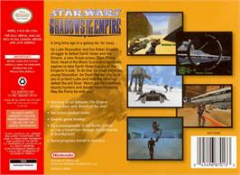 Box back cover for Star Wars: Shadows of the Empire on the Nintendo N64.