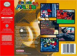Box back cover for Super Mario 64 on the Nintendo N64.